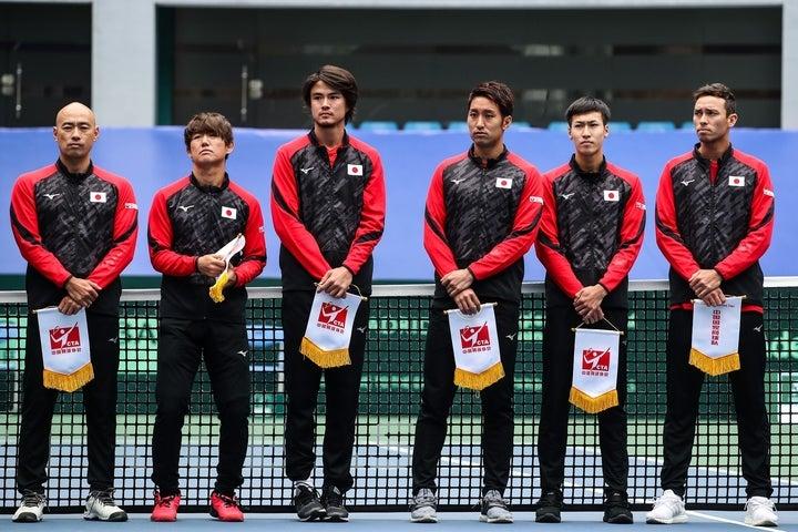 今年2月のデ杯ファイナル予選・対中国戦での日本代表チーム。(C)GettyImages
