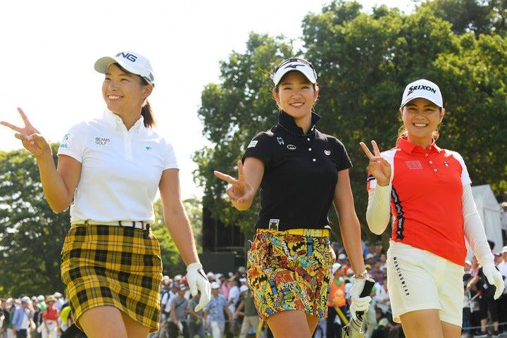 渋野、原、新垣(左から)ら「黄金世代」と呼ばれる選手たち。女子ゴルフ界を牽引する存在だ。(C)Getty Images