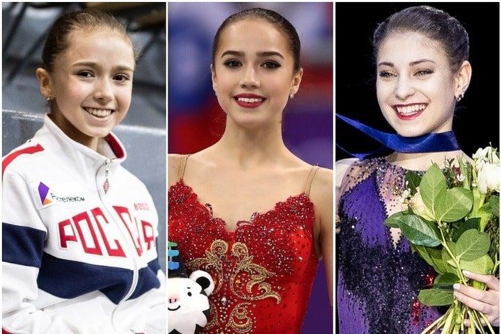 左から13歳ワリエワ、17歳ザギトワ、16歳コストルナヤ。ロシアの女子フィギュア界は最盛期を迎えている。(C)Getty Images