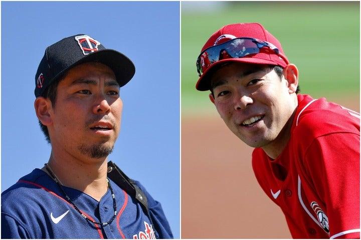 前田(左)が、32歳の誕生日を迎えた秋山(右)への祝福メッセージが話題を呼んでいる。(C)Getty Images