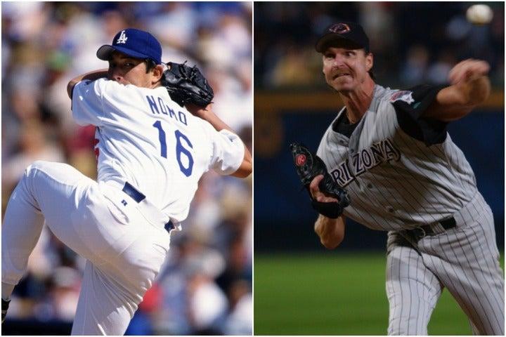 2004年の今日、ランディ(右)が完全試合を達成。野茂(左)との共通点とは一体? (C)Getty Images
