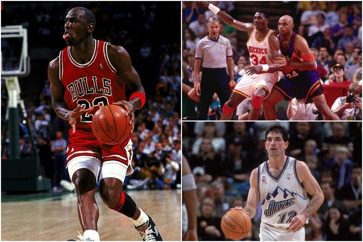 ジョーダン(左)、オラジュワン(右上の左)、バークレー(右上の右)、ストックトン(右下)……。1984年のドラフトは、4人の殿堂入り選手を輩出した史上最高の当たり年だった。