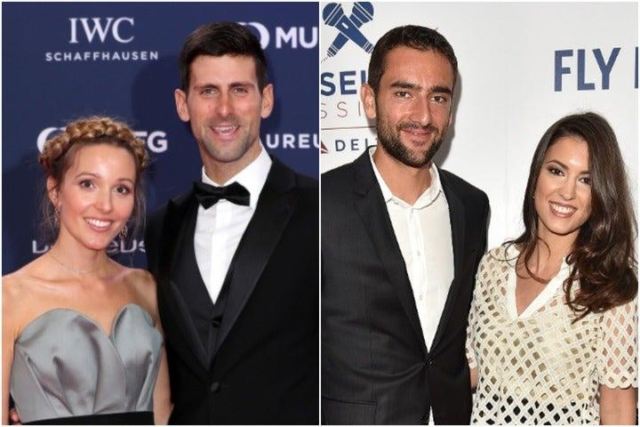 ジョコビッチの妻エレナ(左)さん、チリッチの妻クリスティーナさん(右)ともに高学歴の持ち主。(C)Getty Images