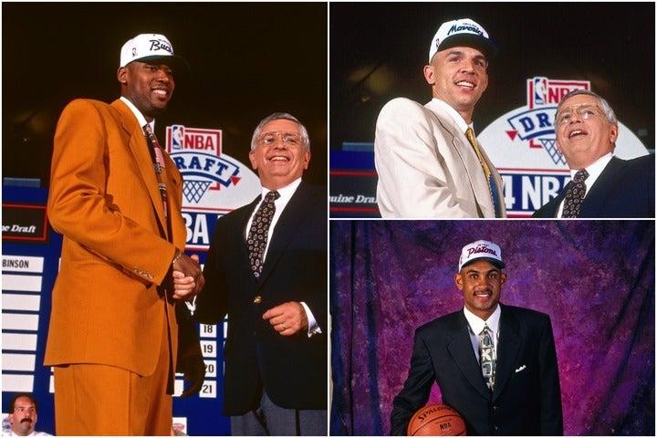 1994年のドラフトで1位指名されたロビンソン(左)。2位にはキッド(右上)、3位にヒル(右下)といったスターが名を連ねた。(C)Getty Images