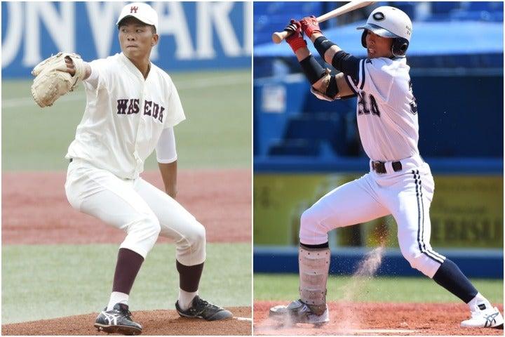 早川(左)は複数球団の競合1位指名が確実。快足自慢が魅力の五十幡(右)はここに来て評価を上げている。写真:山手琢也、産経新聞社