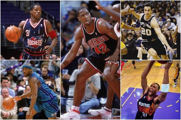 1999年のドラフトでは1位指名のブランド(中央)から57位のジノビリ(右上)まで9人のオールスター選手が誕生した。(C)Getty Images