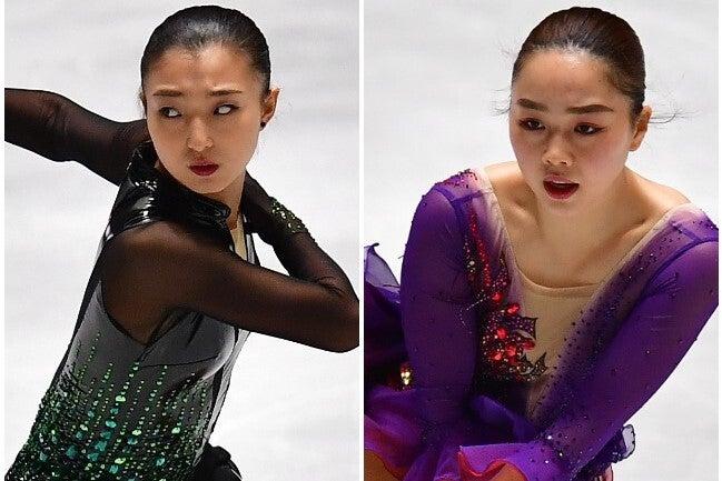 NHK杯を初制覇した坂本(左)と公式戦で回転不足ながらもトリプルアクセルを記録した樋口(右)。(C)Getty Images
