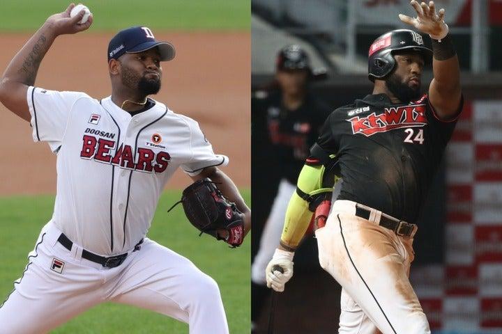 """阪神がこのオフにKBOのタイトルホルダーを""""乱獲""""中。強打者ロハスJr.(右)は当確、最多勝アルカンタラ(左)もマネーゲームで勝ちそうだ。(C)Getty Images"""