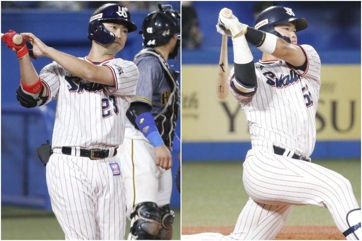 20歳の村上(右)と大ベテランの青木(左)、ヤクルト勢の2人がOPSや四球率でリーグ1、2位に入った。写真:山崎賢人