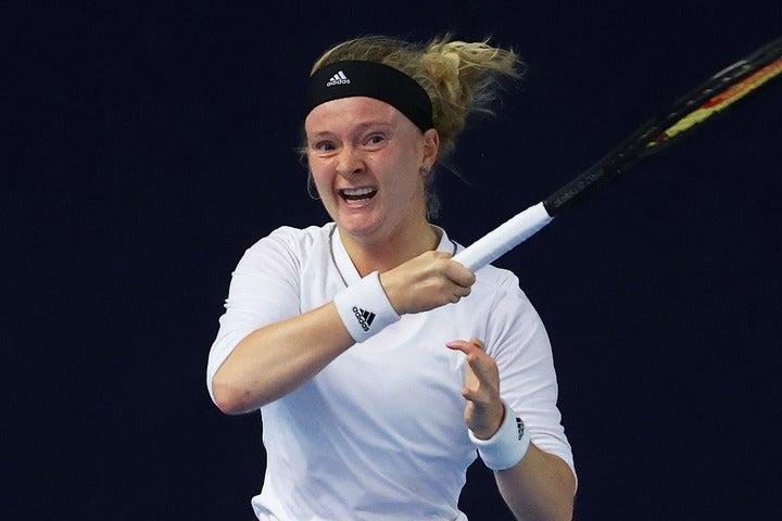 ハードルをものともせず、強敵を撃破し全豪オープンの予選を突破したジョーンズ。(C)Getty Images