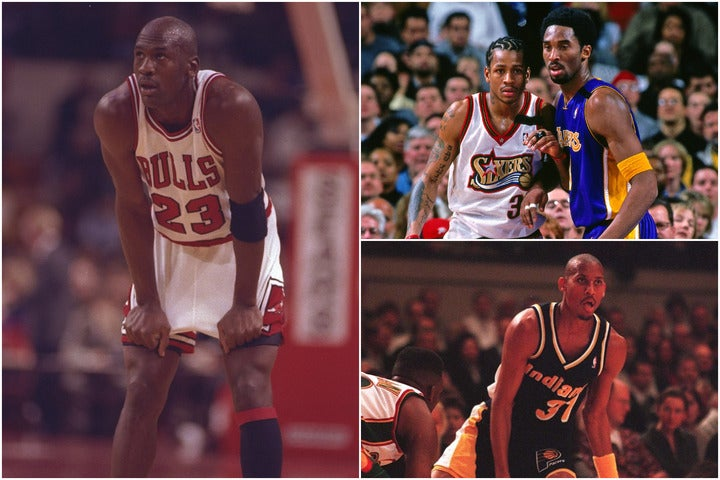 ジョーダン(左)やコビー、アイバーソン(ともに右上)、ミラー(右下)といったスターSGたちは、どれほどのサラリーを獲得していたのか。(C)Getty Images
