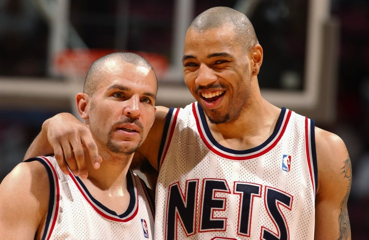 ネッツが過去ファイナルに進出したのは2002年と03年の2回。その当時の中軸を担っていたのがキッド(左)とマーティン(右)だった。(C)Getty Images