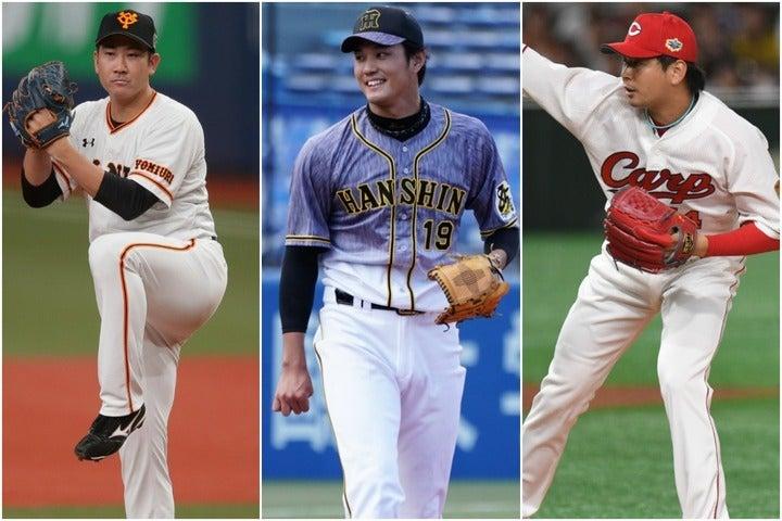 先発投手に抜擢された藤浪(中央)の投球に注目が集まる。菅野(左)は7度目、大瀬良(右)は3度目の大役を担う。写真:THE DIGEST写真部