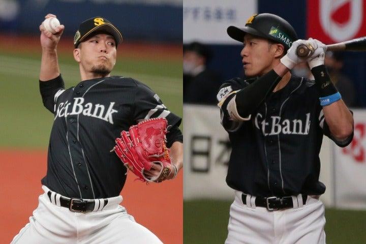 大スター・柳田(右)が一気に6億円プレーヤーに。千賀(左)はプロ入り時から衝撃的な昇給を果たしている。写真:塚本凛平(THE DIGEST写真部)