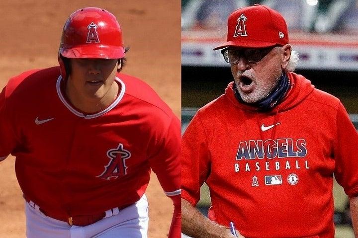 1番投手として先発して攻守に奮闘した大谷(左)をマッドン監督(右)も絶賛した。 (C) Getty Images
