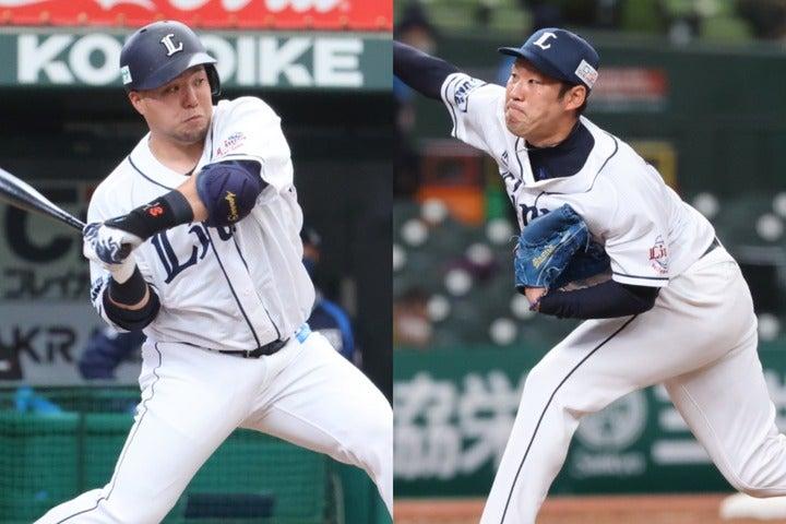 山川(左)や森の2年連続不振はあり得ない、とする里崎氏。9回打ち切りルールも、増田達至(右)をはじめとする層の厚いリリーフ陣にプラスに作用すると予想している。写真:山手琢也