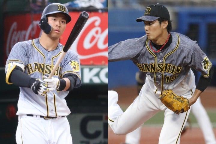初の開幕投手を担う藤浪(右)はどんなピッチングを見せるか。6番を務めることが濃厚な新人大砲・佐藤(左)のデビューにも注目だ。写真:山手琢也
