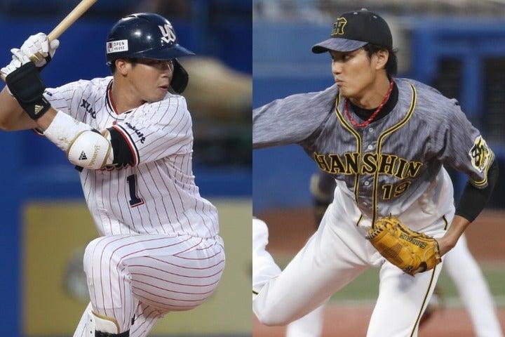 143試合制に戻る今季、山田(左)は史上初の40本塁打40盗塁に到達できるか? ここ数年くすぶり続けた藤浪(右)もエースに返り咲きを目指す。写真:田中研治(山田)、山手琢也(藤浪)