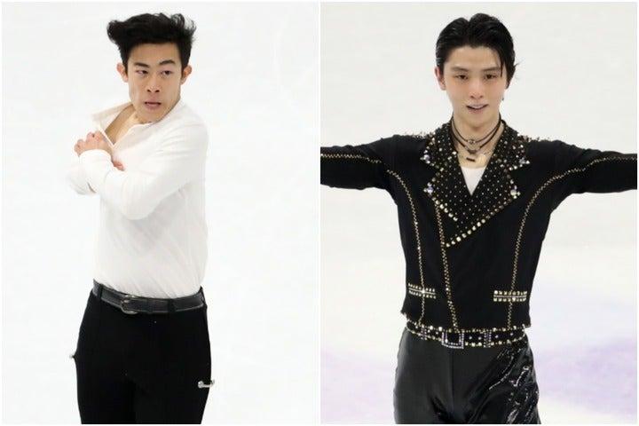 ネイサン・チェン(左)が羽生結弦(右)への想いを明かした。(C)Getty Images