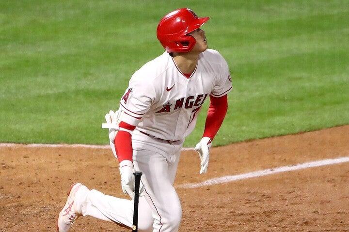 大谷が放った一発は、あの打者を超える驚異のスピードをマークした。(C)Getty Images