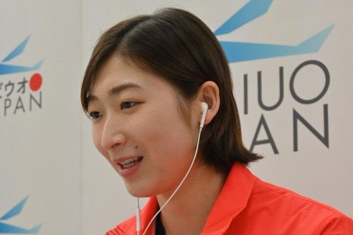 リレー2種目で東京五輪の代表権を得る池江が、2年ぶりに日の丸ジャージ姿を見せた。写真:日本水泳連盟提供