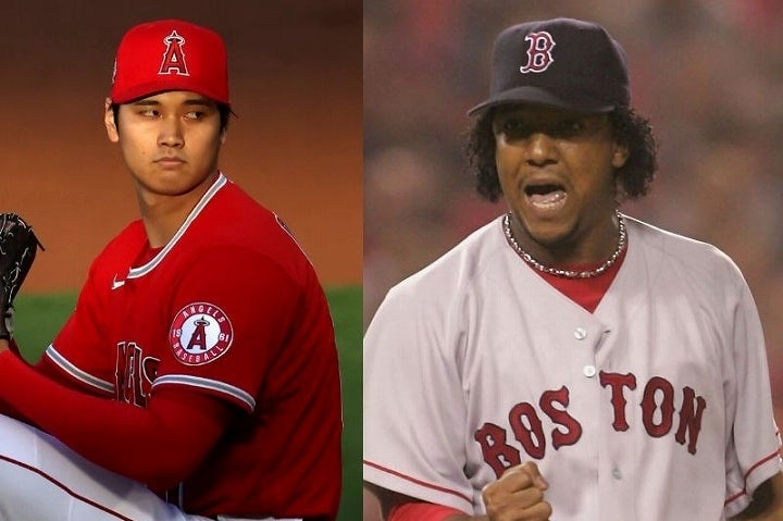 90年代後半から2000年代にかけて活躍した大投手P・マルティネス(右)は、大谷(左)の投球に苦言を呈した。(C) Getty Images