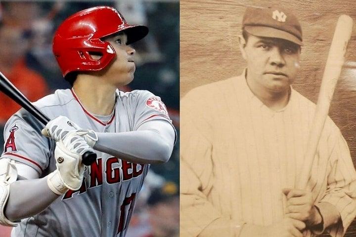 野球の神様として万人に知られているベーブ・ルース(右)と同じ二刀流に挑んでいる大谷翔平(左)には熱視線が送られている。(C) Getty Images