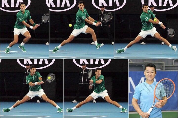 着地と打球がほぼ同時のジョコビッチの規格外バックハンド。右下は増田健太郎プロ。写真:THE DIGEST写真部