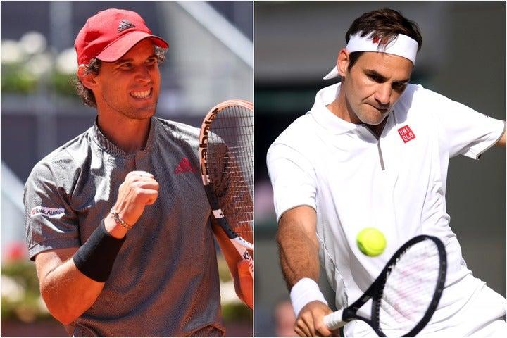ティーム(左)はフェデラー(右)のプレーについて「非現実的なスキルを持っている」と称賛。四大大会、特にウインブルドンでは上位進出できると予想する。(C)Getty Images