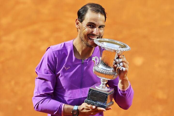 イタリア国際ではジョコビッチを破って10度目の優勝を果たしたナダルだが、まだクレーキングとしての感覚は完全には戻っていないようだ。(C)Getty Images