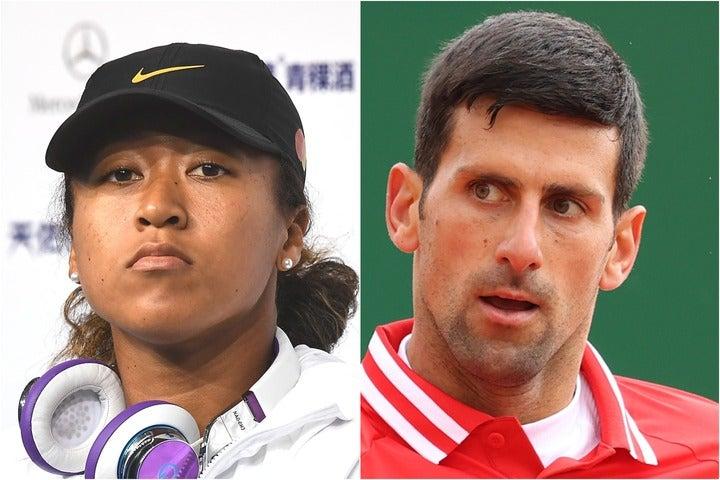 ジョコビッチ(右)は大坂(左)の考えに一定の理解を示すものの、試合後の会見拒否については否定的だ。(C)Getty Images