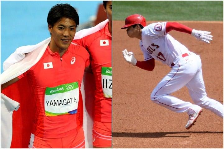 """100メートル9秒95で走る山縣(左)が大谷(右)の""""俊足""""を称賛した。(C)Getty Images"""