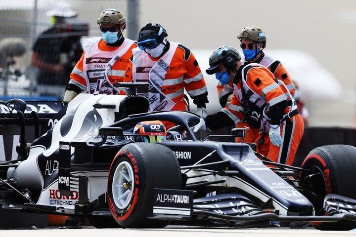 予選はクラッシュでタイムなしの角田。フランスGP決勝は最後尾からのスタートとなった。(C)Getty Images