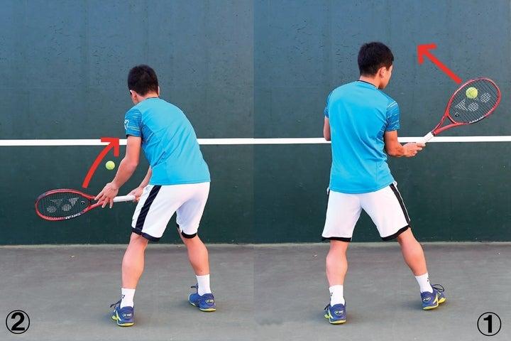フォアボレーをクロスに送り(1)、壁から跳ね返ってきたボールをバックボレーでクロスに送る(2)。この繰り返しでフォアバック交互にボレーを打ち続ける。写真:THE DIGEST写真部