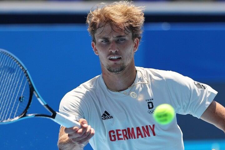 東京オリンピックに向けて有明で練習をするドイツ代表のズベレフ。(C)Getty Images