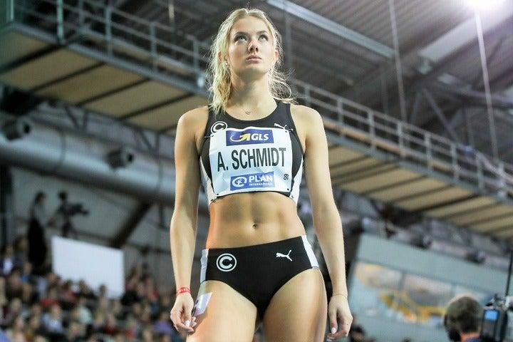 4×400メートルのドイツ代表として東京五輪に臨むシュミット。(C)AFLO