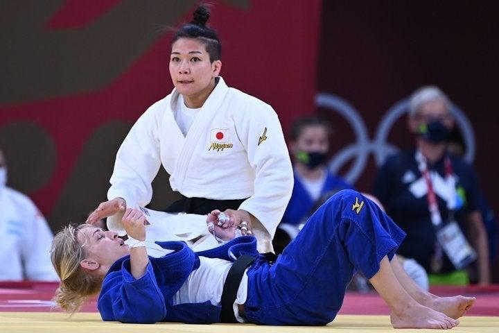 女子48キロ級で準決勝に進んだ渡名喜。写真:佐貫直哉(JMPA代表撮影)