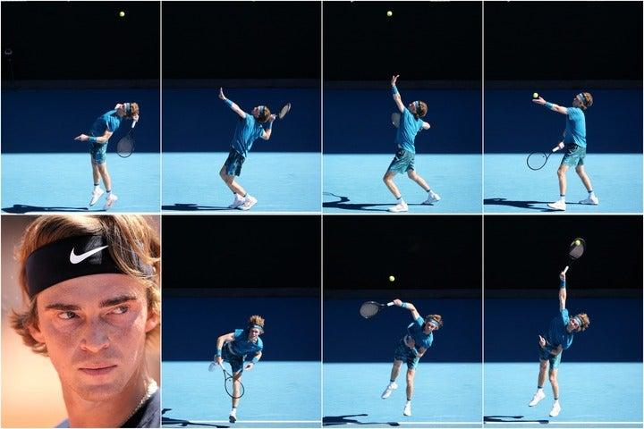 ボールの真下に顔がくるほど身体を反らしてもバランスが崩れないルブレフ(写真左上)の超人的なスピンサービス。写真:真野博正、(C)Getty Images