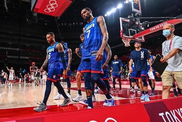 NBAのスター選手擁するアメリカはオリンピック4連覇を狙っているが、初戦でフランスにまさかの敗戦を喫した。(C)Getty Images