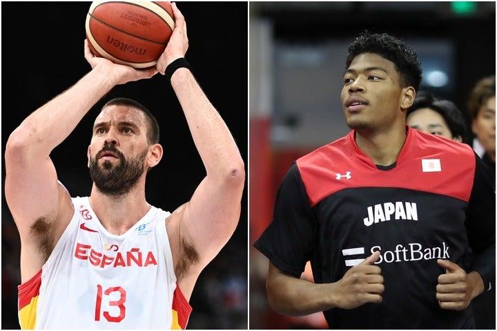 NBAレイカーズに所属するM・ガソル(左)をはじめスター選手が揃うスペイン。日本にとっては格上だが、八村を中心に真っ向勝負を仕掛けたい。(C)Getty Images