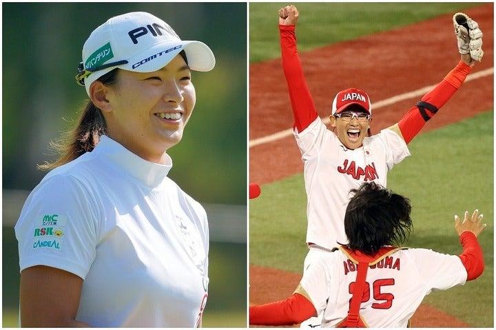 元ソフト女子の渋野も日本の連覇に大感動。とりわけ憧れの上野への想いは……。(C)Getty Images