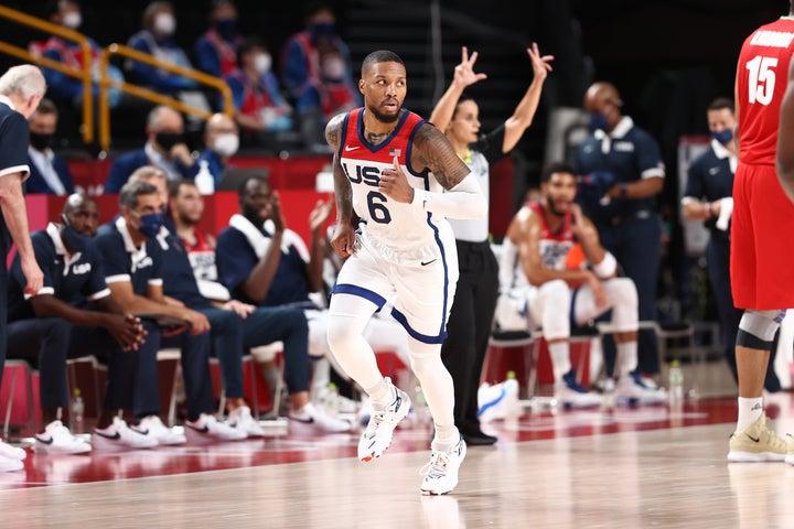 NBA軍団のアメリカがイランを一蹴。21得点のリラードをはじめ計6選手が2桁得点を記録した。(C)Getty Images