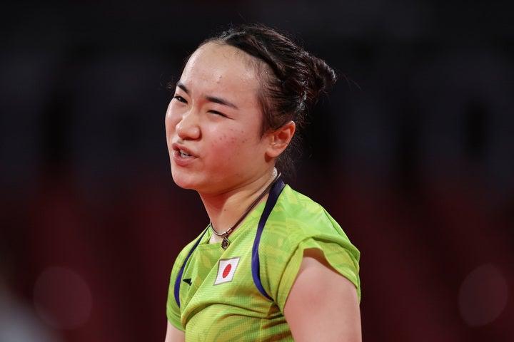 準決勝で敗退し二冠の夢が潰えた伊藤美誠。(C)Getty Images