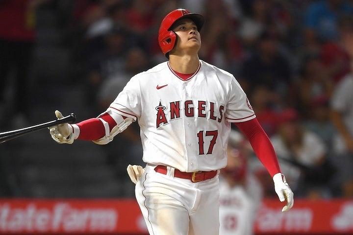 """鋭いライナーであっという間にライトスタンドに放り込んだ大谷。その打球はライバルたちとは""""一線を画す""""ものだった。(C)Getty Images"""