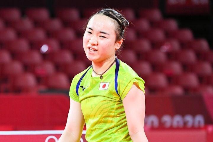 準決勝で中国の孫穎莎に敗れ、涙をこぼした伊藤。写真:JMPA代表撮影