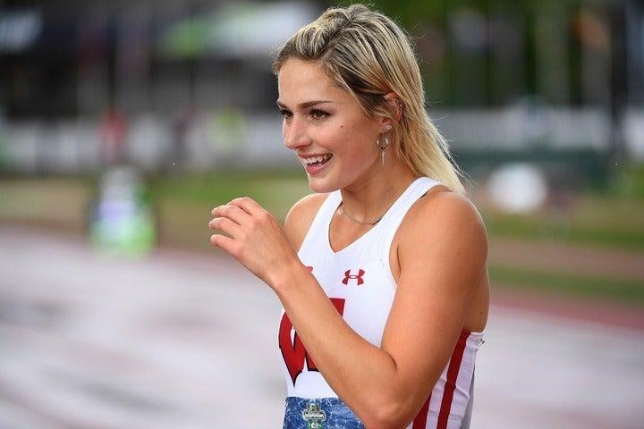 今日土曜日に選手村入りしたエレンウッド。カナダが誇る陸上・七種競技の代表選手だ。(C)Getty Images