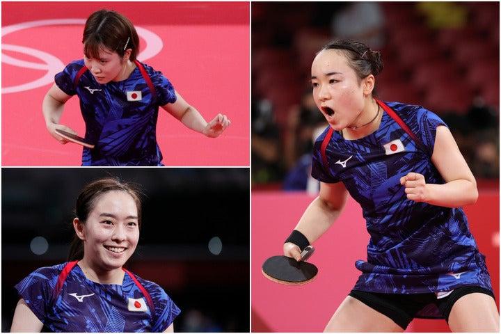 1回戦でハンガリー代表を一蹴した日本女子チーム。キャプテン石川(左下)も「自信になった」と語った。(C)Getty Images