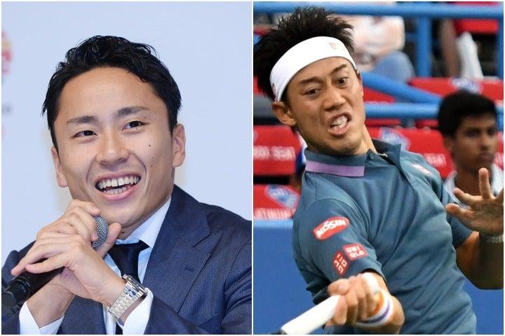 IOCアスリート委員に当選した太田氏(左)、すでにアメリカでツアーに出場している錦織圭(右)。(C)Getty Images