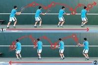 フォアボレーを逆クロス気味に打って右に移動(1)。端まで行ったら方向転換し、バックボレーを逆クロス気味に送って左に移動する(2)。写真:THE DIGEST写真部