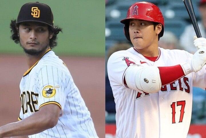 MLB屈指のスラッガーとなった大谷(右)。この偉才との直接対決に向け、ダルビッシュ(左)がやる気を漲らせている。(C)Getty Images